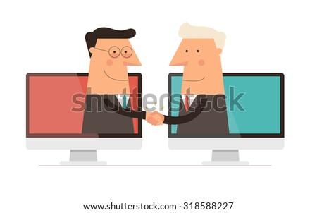 Cyber Handshake - stock vector