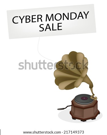 Cyber Monday, A Golden Gramophone or Turntable Broadcasting Black Friday News, Sign for Start Christmas Shopping Season.  - stock vector
