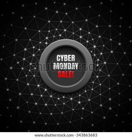 Cyber monday sale black background. - stock vector