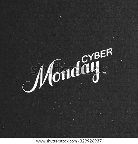 Cyber Monday Sale label on the cardboard texture. Promotional banner template with lettering composition - stock vector