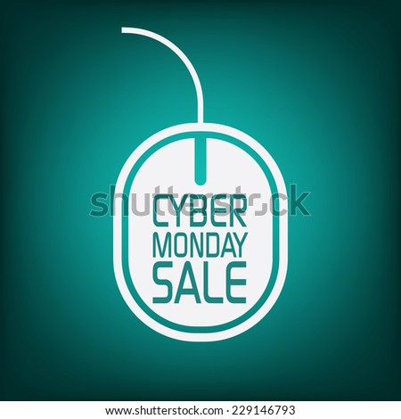 Cyber monday sale poster with mouse on green background for advertisement. Eps10 vector illustration - stock vector