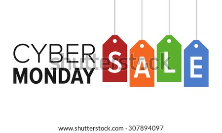 Cyber Monday sale website display with colorful hang tags vector promotion - stock vector