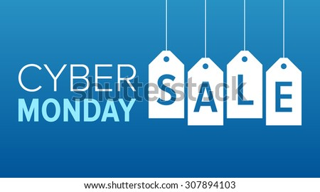 Cyber Monday sale website display with hang tags vector promotion - stock vector
