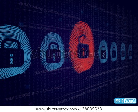 Cyber security and Hacking Concept - Vector Background - stock vector