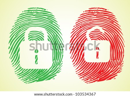Cyber security and Hacking - Lock sign on thumbprint - stock vector