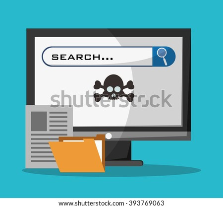 Cyber security with computer design - stock vector