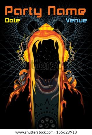 Cyber shaman trance party DJ vector flyer template - stock vector