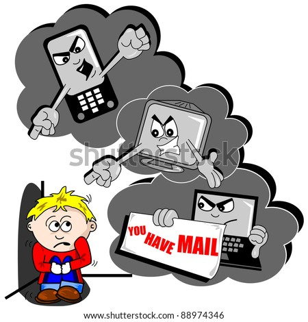 Cyberbullying cartoon with scared child mobile phone and PC - stock vector