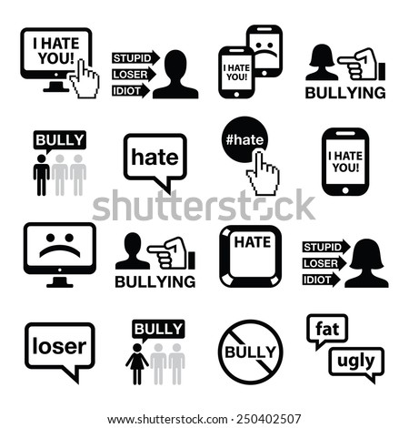 Cyberbullying vector icons set - stock vector