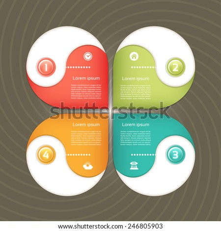Cyclic diagram with four steps and icons. eps 10 - stock vector