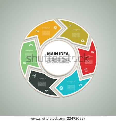 Cyclic diagram with six steps and icons. eps 10 - stock vector