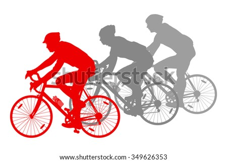 Cycling cyclist bike silhouette group athletes vector background winner concept detailed illustration isolated over white - stock vector
