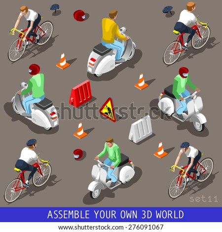 Cycling elements. Vespa scooter cyclist bicyclist with driver. Flat 3d isometric vehicle tiles icons. Assemble your own 3d world web urban city map vehicles infographic set vector illustration. - stock vector