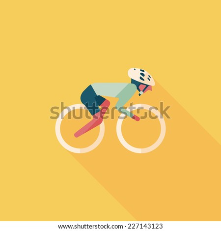 cycling flat icon with long shadow,eps10 - stock vector