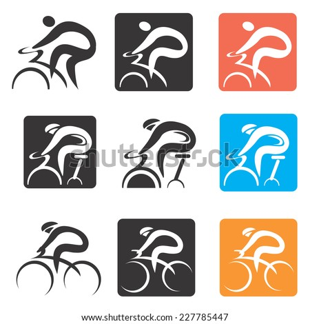 Cycling icons buttons. Set of cycling icons and buttons. Vector illustration  - stock vector