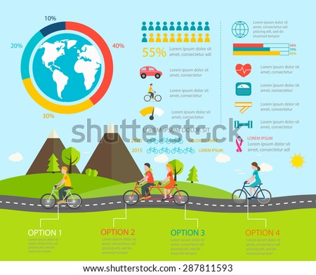 Cycling infographics with people riding bicycles.  Infographic with cyclists riding bikes, include tandem bicycle, vector illustration. - stock vector