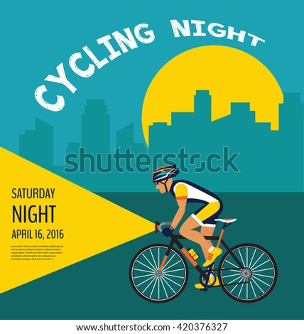 cycling night poster. cyclist cycling through the city - stock vector