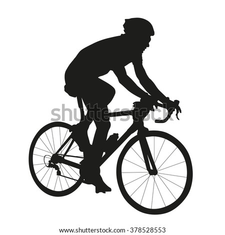 Cycling silhouette, vector isolated silhouette of road cyclist - stock vector