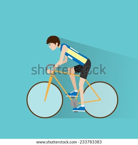 Cycling sport bicycle man, road bike riders flat vector illustration - stock vector