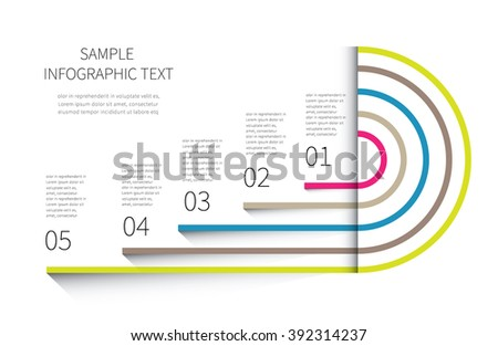 cycling vector chart, diagram with 5 options for business presentaton / unusal chart and graph design in one - stock vector