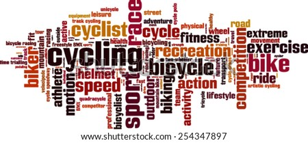 Cycling word cloud concept. Vector illustration - stock vector
