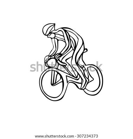 Cyclist, black and white vector illustration - stock vector