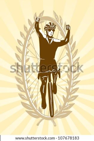 Cyclist celebrating his win, victory, vector illustration, easy to edit layers - stock vector