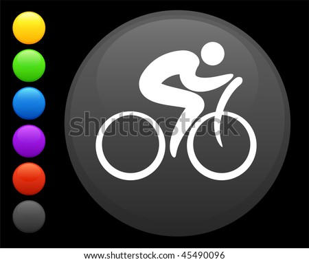 cyclist icon on round internet button original vector illustration 6 color versions included - stock vector