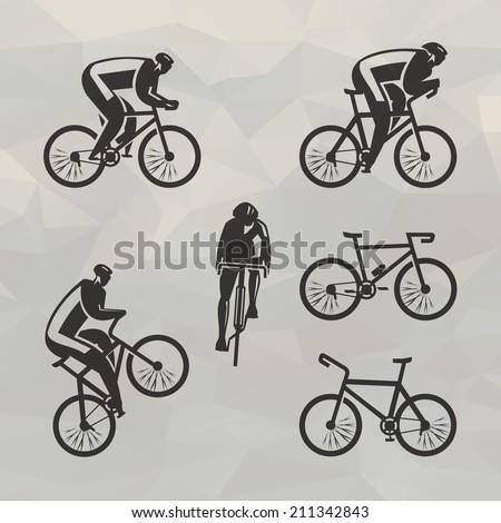 Cyclist icons. Vector format - stock vector