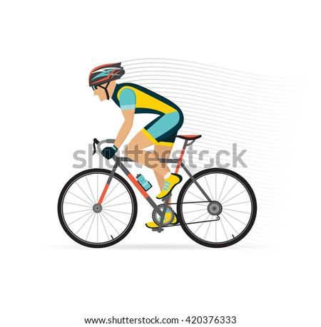 cyclist male. vector illustration. - stock vector