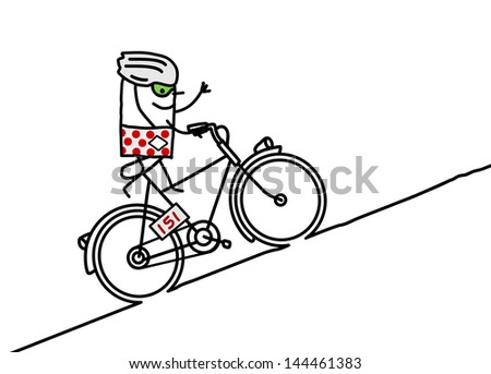 cyclist & mountain - stock vector
