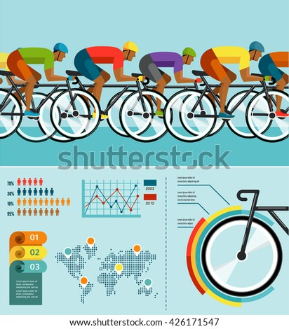 cyclist riding on bicycle, vector infographics, poster, icon set - stock vector