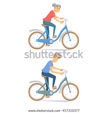 Cyclist senior on urban bike. Old people riding bicycle. Cyclist older couple. Senior man and women cycling together. Cyclist cartoon character vector illustration. Healthy lifestyle with cycle - stock vector