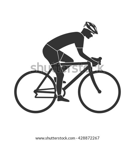 Cyclist silhouette icon, man on racing bike. Isolated icon sports bike races. Vector illustration. Speed racing bike. - stock vector