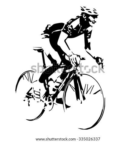 Cyclist vector silhouette - stock vector