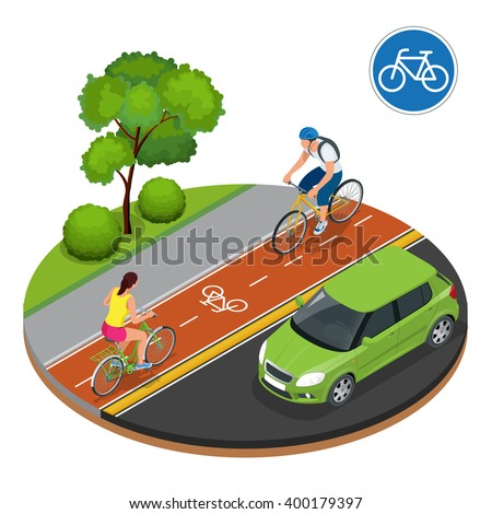 Cyclists in city. Cycling on bike path. Bicycle road sign and bike riders. Flat 3d vector isometric illustration. People riding bikes. Fitness, sport, people and healthy lifestyle concept. - stock vector