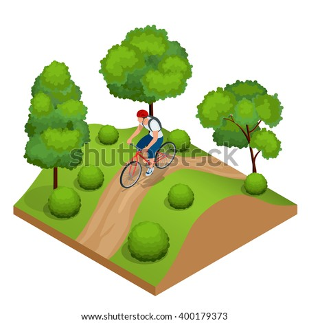 Cyclists in forest cycling on track from behind. Cyclists on bicycle. Riding bicycle outdoors at summer. Fitness, sport, people and healthy lifestyle concept. Flat 3d vector isometric illustration - stock vector