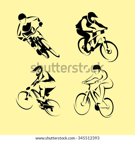 Cyclists on bikes, icons set isolated, vector illustration. People riding bikes. bikers and bicycling Sport and  exercise - stock vector