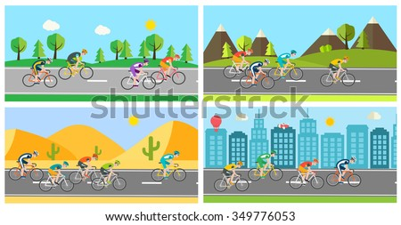 Cyclists race in different landscapes, vector illustration - stock vector