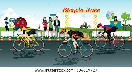 Cyclists racing bike with a farm background. - stock vector