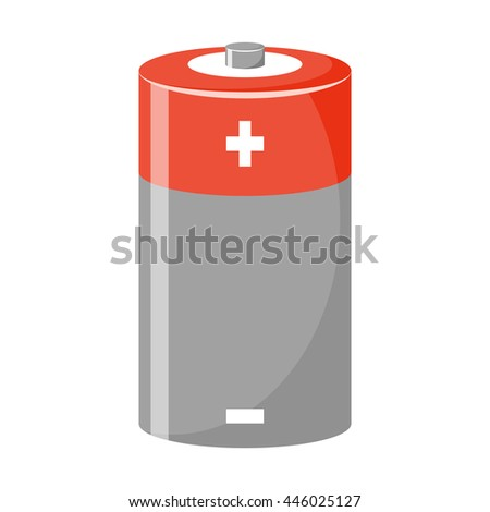 Cylinder battery icon. Vector illustration in cartoon style - stock vector