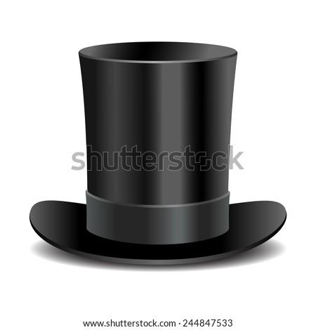 Cylinder black gentleman hat - stock vector