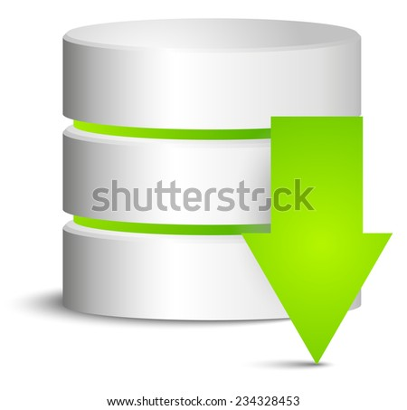 Cylinder with green download arrow - stock vector