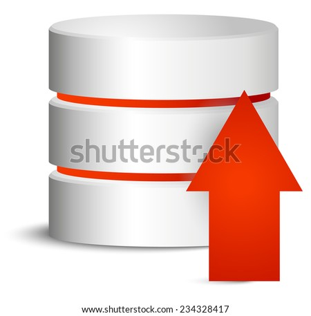 Cylinder with red upload arrow - stock vector