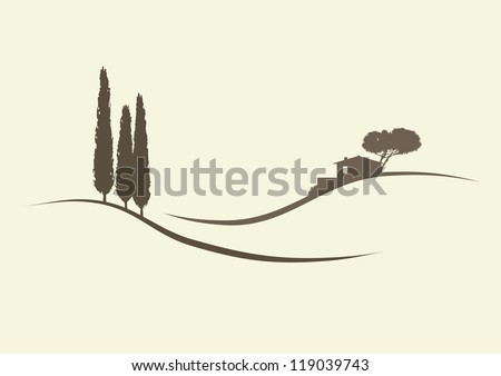 cypress trees and a finca in the typical tuscanian landscape - stock vector