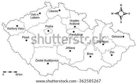 Czech republic administrative map. Regions, capital city and regional cities on the map with scale and compass. - stock vector