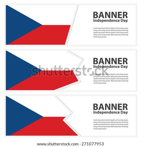 czech republic Flag banners collection independence day - stock vector