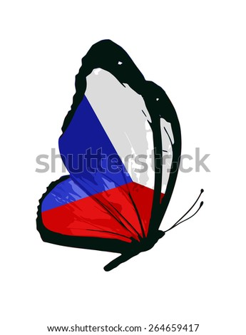 Czech Republic flag butterfly - vector - stock vector