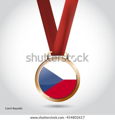 Czech Republic Flag in Bronze Medal. Olympic Game Bronze Medal. Vector Illustration - stock vector