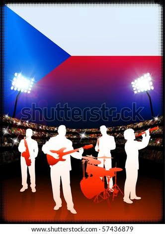 Czech Republic Flag with Live Music Band on Stadium Background Original Illustration - stock vector